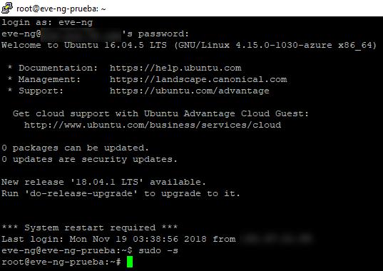 Instalación de EVE-NG en un servidor en la nube